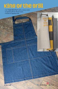 Sewing Men Clothes King of the Grill Man's Apron Pattern Sewing Men, Love Sewing, Hand Sewing, Sewing Aprons, Sewing Clothes, Men Clothes, Sewing Projects For Kids, Sewing Ideas, Sewing Hacks