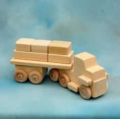 Wooden Toy Semi Truck with Flatbed Trailer and Cargo Blocks - All Natural Wood…