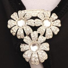 """Art Deco Large Diamante & Clear Cabochon Glass Stones Pave Set Floral Dress Clip. Flowers made of diamante rhinestones for you at the """"Vintage Jewelry Stars"""" shop at http://www.rubylane.com/shop/vintagejewelrystars!!"""