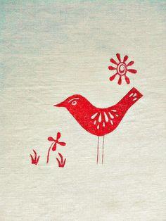 scandi bird on linen