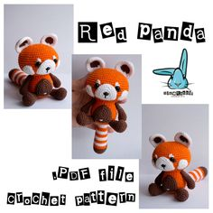 Red panda - amigurumi crochet pattern. PDF file. DIY. Language - English, French by BlueRabbitLV on Etsy https://www.etsy.com/listing/251247205/red-panda-amigurumi-crochet-pattern-pdf