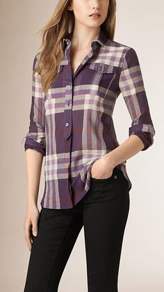 Regency purple Placket Detail Check Cotton Shirt - Image 1