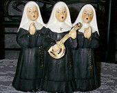 I Have one of these but, without the guitar! Vintage Singing Nuns Musical Figurine ( Black and White Music Box )