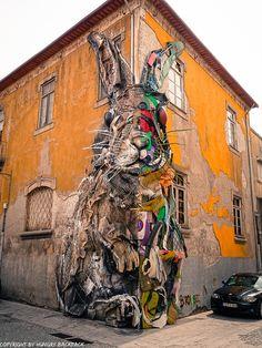 Urban Art in Porto 🎨🐰 🌎 Portugal Murals Street Art, Graffiti Murals, Street Art Graffiti, Mural Art, Urban Street Art, Best Street Art, Amazing Street Art, Urbane Kunst, Building Art