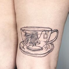 Sweet little fishy in a teacup by Bailey Jörk at Rat Tat Studio in Indianapolis IN! Body Art Tattoos, New Tattoos, Small Tattoos, Cool Tattoos, Bird Tattoos, Feather Tattoos, Forearm Tattoos, Unique Tattoos, Sleeve Tattoos