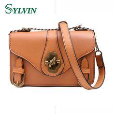 Women Vintage Messenger Bag 2017 New Lock Small Flap Fashion Pu Leather  Female Shoulder Bags Girls Crossbody Bag aeec611f19718