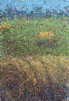 """Landscape Number Two-Hay Rolls 24""""x36"""" Acrylic on stretched Canvas   Artist Michael Glass"""