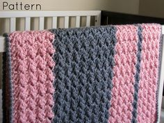 Thursday's handmade love week 62 Theme: baby girl blankets Includes links to free crochet patterns  Chunky Preppy Baby Reversible Crochet Blanket Pattern via Etsy