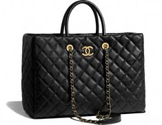 e6ad3a89408f CHANEL Handbags : Large shopping bag, calfskin & gold-tone metal-black on  the CHANEL fashion website
