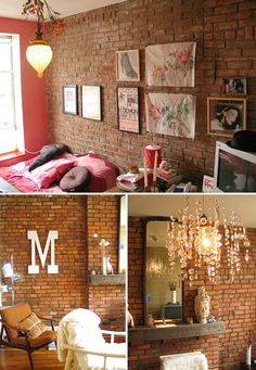 exposed brick is my absolute favorite, hopefully I'm able to find something like this when I finally move to Chicago.