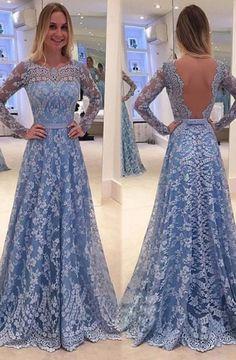 Blue Backless Lace Long Sleeves Jewel Bowknot Sweep Train Long Prom Dress