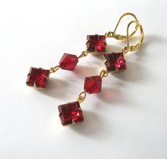 Red Crystal Earrings Vintage Art Glass by SendingLoveGallery