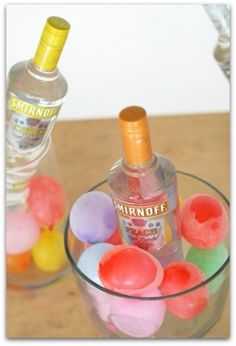 frozen water balloon cooler. Freeze water balloons to make pretty coolers. Many more. <3 this site!
