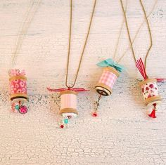 Welcome to day nine of my 14 Days of Love special! Today I have a sweet jewelry diy for you all, vintage thread spool necklaces. These little necklaces are simple to make and are really sweet. You can find … Continued Wooden Spool Crafts, Wooden Spools, Cotton Reel Craft, Crafts To Make, Crafts For Kids, Homemade Necklaces, Embroidered Pillowcases, Operation Christmas Child, Christmas Crafts