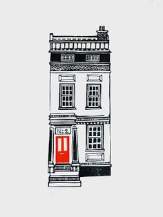 Jeff Josephine Designs News: Linocut Houses 1 - 5 (No. Date: size Unknown Building Illustration, House Illustration, Design Illustrations, Linocut Prints, Art Prints, Block Prints, 3d Art, Linoprint, House Drawing