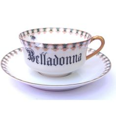Damaged Belladonna Poison Teacup and Saucer ($17) ❤ liked on Polyvore featuring home, kitchen & dining, home & living and silver