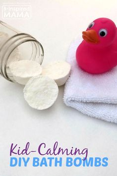 "DIY ""Kid-Calming"" Bath Bombs Recipe using Lavender Essential Oils at B-Inspired Mama"