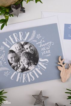 """Weihnachtskarte """"Just Christmas"""" Lettering elements and your favorite photo - our favorite card for Christmas Design """"Just Christmas"""" # Christmas party Personalised Christmas Cards, Diy Christmas Cards, Holiday Photo Cards, Christmas Design, Xmas Cards, Christmas Photos, Christmas Greetings, Family Christmas, Merry New Year"""
