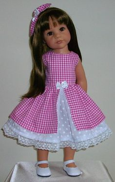"Gingham & polka dots dress & hair bow fits 18"" Dolls Designafriend/Gotz hannah"