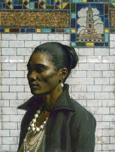 """Modern day """"Woman with a Pearl Earring"""" Oil on linen // Daniel E. Greene"""