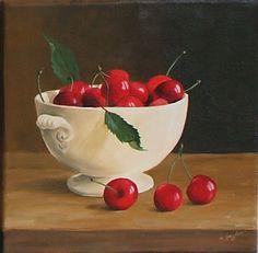 Bol de cerises - Painting ©2008 par Christiane Heydon - Peinture