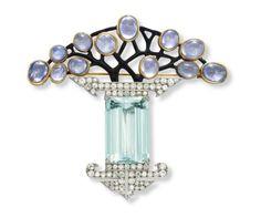 Art Deco Aquamarine, Diamond, Purple Sapphire, and Enamel Brooch by Georges Fouquet circa Bijoux Art Nouveau, Art Nouveau Jewelry, Jewelry Art, Antique Jewelry, Vintage Jewelry, Fine Jewelry, Jewelry Design, Jewellery, Donuts Kawaii