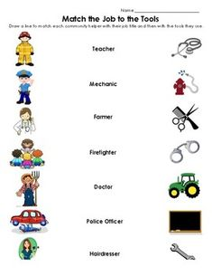 Community Helper Match by teachgraderepeat Community Helpers Lesson Plan, Community Helpers Crafts, Community Helpers Worksheets, Community Helpers Kindergarten, Preschool Activity Books, Educational Activities For Kids, Preschool Lesson Plans, Kids Sunday School Lessons, English Lessons For Kids