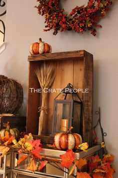 a wood crate used for fall decor on the entrance buffet table  Premium Short Grape Crates  Vintage Wood Crates  by FoundInAttic