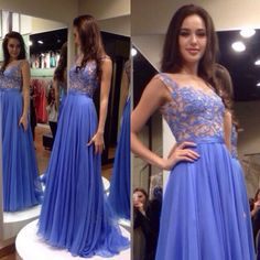 Long Formal Dresses, Floral Lace Illusion Prom Dresses with A-line Skirt, Cap Sleeve Tank Chiffon Prom Dress