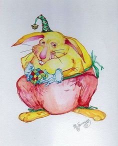 """Yellow Rabbit"" original whimsical watercolor illustration from artist Marina Sciascia (USA)"