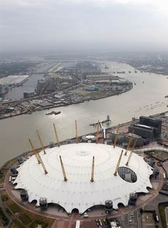 An aerial view of the North Greenwich Arena, also known as The Dome, which will host artistic gymnastics, trampoline, basketball and wheelchair basketball events during the 2012 Olympics in London.