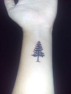 Pine tree tattoo wrist