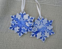 Ceramic hanging Christmas ornaments  pair by BlueButterflyCrafts, £6.50