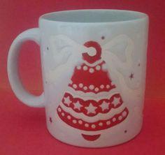 Christmas Mug Waechtersbach Red Bell Tree Vintage White Coffee Cup West Germany #Waechtersbach