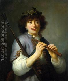 Rembrandt as Shepherd with Staff and Flute c. 1636 by Govert Teunisz. Flinck
