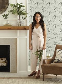 Wildflower Wallpaper from Magnolia Home Vol. 2 by Joanna Gaines Wildflower Wallpaper from Magnolia Home Vol. 2 by Joanna Gaines Fireplace Redo, Farmhouse Fireplace, Fireplace Remodel, Fireplace Design, Above Fireplace Decor, Simple Fireplace, Fireplace Mantle Decorations, Decorating A Mantle, Fireplace With Wood Mantle