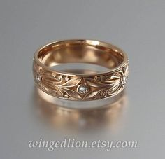The COUNT 14k rose gold mens wedding band with diamonds #weddingbands
