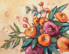 Floral painting, Original impressionistic 8x10 oil painting of flowers by Andrea Lavery. Vibrant pink and orange flowers using bold brush strokes. This painting is fresh off the easel and wont be ready to shop until March 14th. Professional fine art board is 1/8 thick. These paintings can be easily and inexpensively framed using a standard photo frame minus the glass or with a matte.  Artwork is photographed and the image is adjusted to match the original painting as close as possible…