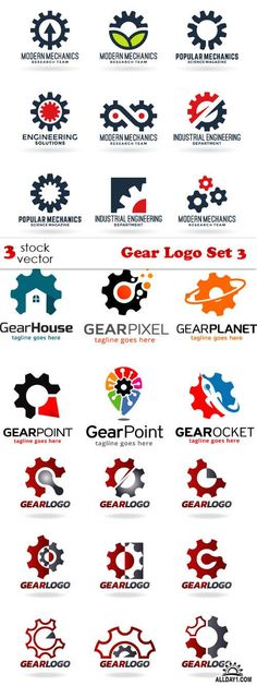6c3a0f7b390 Vectors - Gear Logo Set 3 Civil Engineering Logo