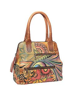 Large Multi-Pocket Shopper - Patchwork Garden by Anuschka  $278.00