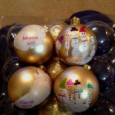 Snowmen Fingerprint Ornaments!