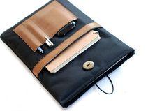 """Segeltuch Notebooktasche(13"""") mit Lederfach"""