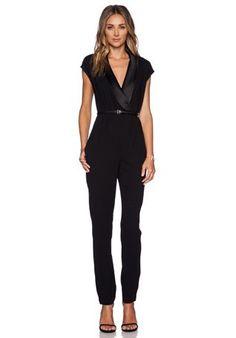 Halston Heritage Draped Jumpsuit в цвете Черный | REVOLVE