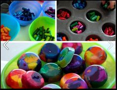 Great use for broken crayons!  Put in a muffin tin or use wax-lined dixie cups and peel them away when the crayon has cooled.