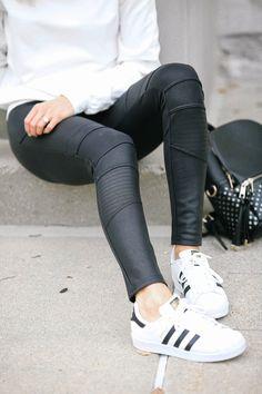Adidas Superstars, Moto leggings, leather coated leggings - Lemon Blonde