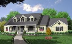 MonsterHousePlans - 9-193 Country Style House Plans, Country Style Homes, Country Charm, Cape Cod Style House, Monster House Plans, Bungalow Homes, Beautiful Dining Rooms, Beautiful Homes, House Floor Plans