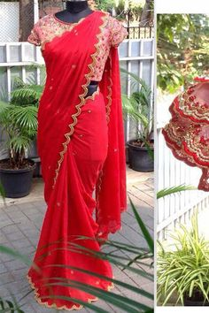 This bollywood designer saree has thread work. It comes with a matching unstitched banglori silk& net blouse. Party Wear Sarees Online, Party Sarees, Bollywood Designer Sarees, Designer Sarees Online, Saree Blouse Patterns, Saree Blouse Designs, Art Silk Sarees, Georgette Sarees, Red Saree