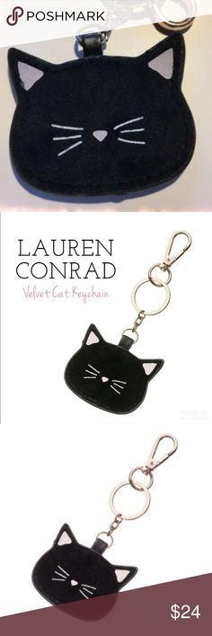 Lauren Conrad black velvet kitty cat key fob/chain Update your favorite handbag with this cute LC Lauren Conrad velvet cat key chain. Attach the key chain with the lobster-claw clasp.  PRODUCT DETAILS •Length: 6 in. •Clasp: lobster-claw •Plating: rose gold tone •Material: velvet & faux-leather •Origin: imported Not appropriate for children 14 years old and younger. New in box & Sold Out in stores. Was limited edition fob.  Pretty & pictures are of actual item! Thank you 😊. Ask…