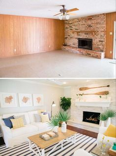 Took away fan and added recessed lighting. Fixer Upper - Green Mile House -Living Room Before/After - Coastal Beach Vibe Home Staging, Living Room Remodel, Home Living Room, Living Room Decor, Living Room Renovation Ideas, Living Room Update, Before After Home, House Makeovers, Decoration Design