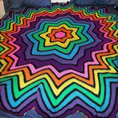 Diane Malloy crocheted this afghan for her sister.  Beautiful explosion of color.  Pattern found at Red Heart: the 7 point start.
